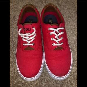 Red Polo shoes, kids size 6 women's size 8